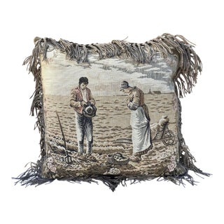 French Square Decor Tapestry Pillow With a Couple Scene For Sale