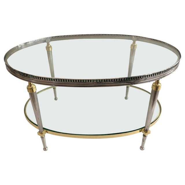 Trouvailles Steel Glass and Brass Oval Cocktail Table For Sale - Image 13 of 13