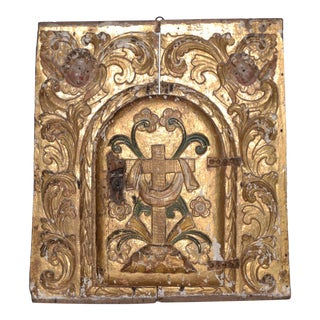 Spanish Colonial Carved, Gilded & Painted Panel For Sale