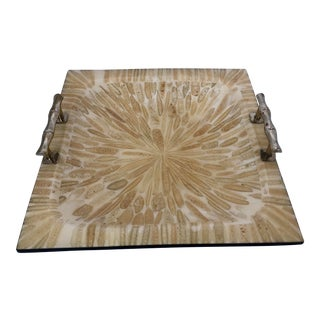 Lacquered Tray With Fossil Inlays and Faux Bamboo Handles For Sale