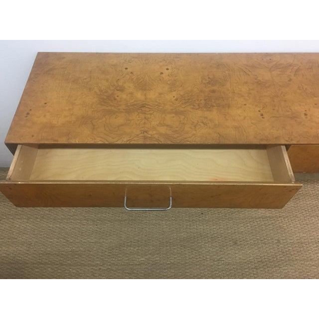 Mid-Century Burlwood Floating Console Table, Desk - Image 8 of 10