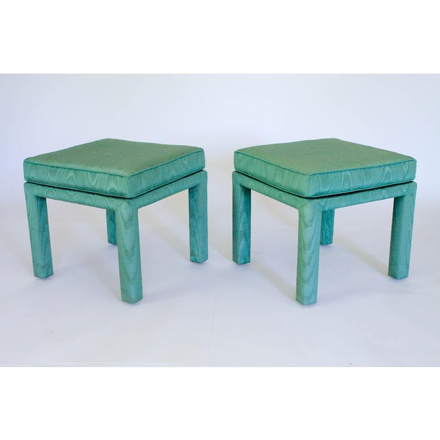 Turquoise Parsons Pillow Top Ottomans - a Pair For Sale - Image 8 of 8