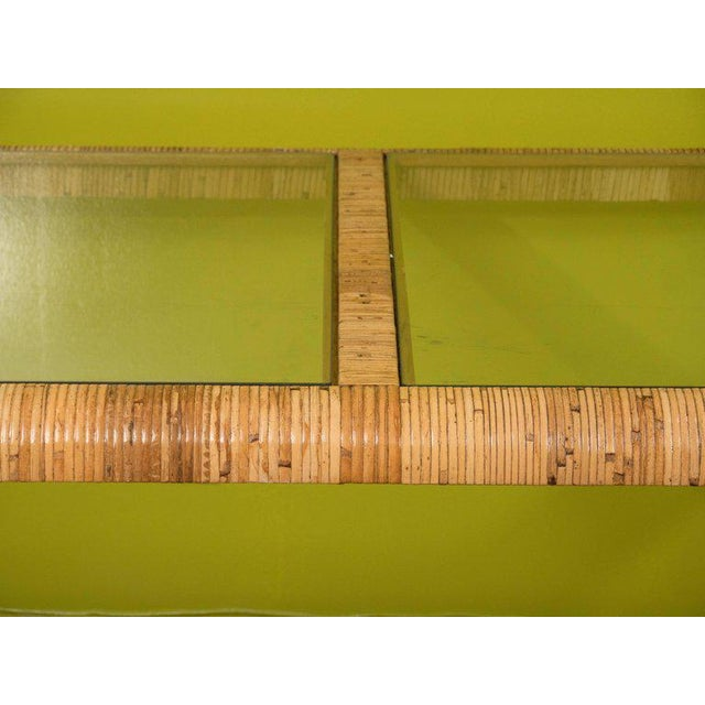 Rattan & Glass Console Table - Image 2 of 9