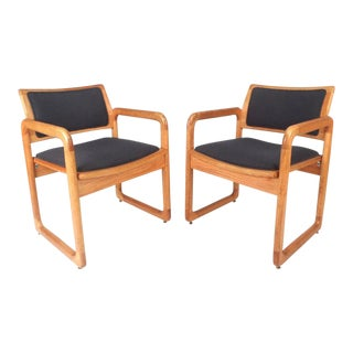 Milo Baughman Style Mid-Century Modern Sled Leg Side Chairs For Sale