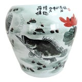 Image of Vintage Chinese Fish & Lotus Flower Ceramic Drum Garden Stool, Side Table or Pedestal For Sale