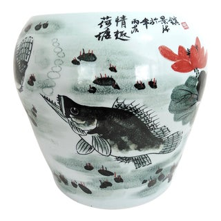 Vintage Chinese Fish & Lotus Flower Ceramic Drum Seat or Garden Stool For Sale