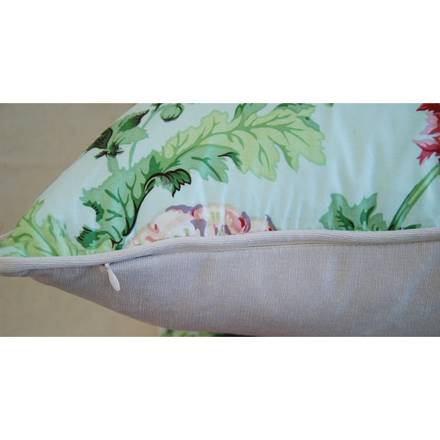 """Designer Brunschwig & Fils Poppies Feather/Down Pillows 22"""" Square - Pair For Sale - Image 9 of 10"""