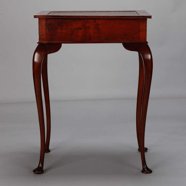 Mahogany Side Table Leather Top and Single Drawer For Sale - Image 5 of 7