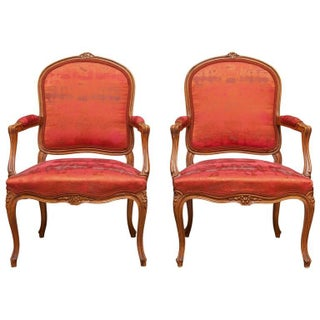 19th Century Louis XV Walnut Armchairs - Pair