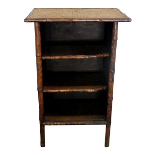 Antique Edwardian Tortoise Shell Bamboo and Sea Grass 3 Shelf Stand For Sale