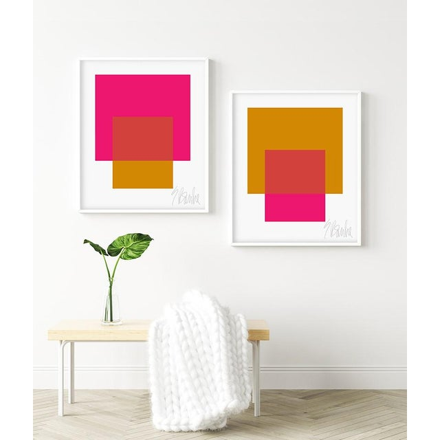 The Interaction of Gold and Deep Pink by Liz Roache (gold and deep pink) This Modern, Mid Century, Contemporary Fine Art...