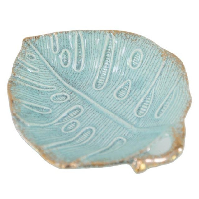 Mid-Century Modern Vintage Usa Pottery Turquoise Monstera Leaf Dish For Sale - Image 3 of 3