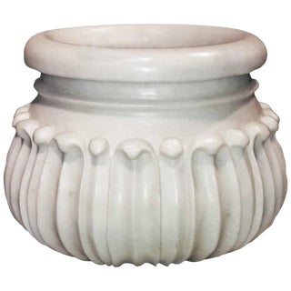 Carved Marble Planter / Jardinière / Cachepot From India For Sale