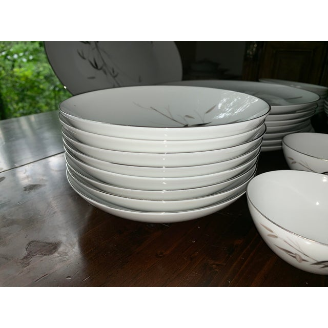 Sango Bamboo Knight Grey Bamboo Platinum Trim-Partial Dinnerware Set - 41 Plates, Reduced For Sale - Image 11 of 12