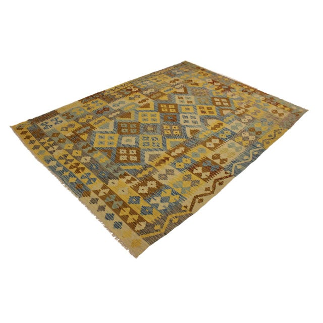 Contemporary Rustic Southwestern Dustin Gray/Blue Hand-Woven Kilim Wool Rug -5'11 X 8'2 For Sale - Image 3 of 8