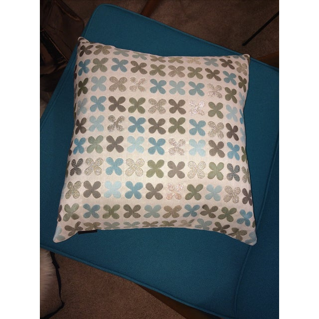 Maharam Quatrefoil Pillow in Silver - Image 3 of 5