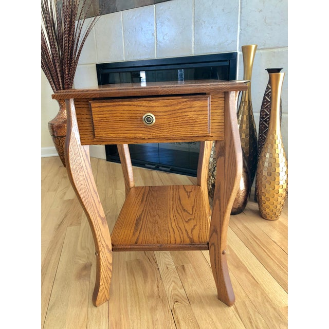 1990s Amish Crafted Transitional Chairside Table For Sale In Kansas City - Image 6 of 13