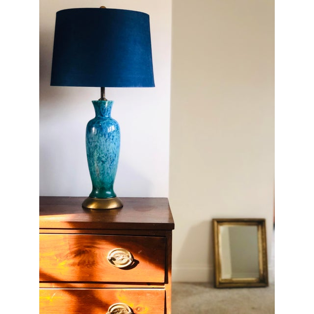 Mid-Century Modern Mid-Century Modern Blue Splatter Glaze Ceramic Lamps With Shades - a Pair For Sale - Image 3 of 7