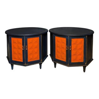 1970's Round End Table Navy Blue For Sale