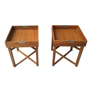 1970s Danish Modern Teak Tray Top Side Tables - a Pair For Sale