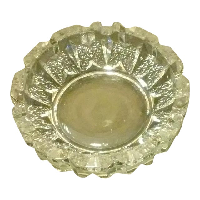 Vintage Heavy Thick Glass Ashtray For Sale