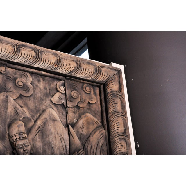 Monumental Southeast Asian Teakwood Figurative Panel of Buddha For Sale - Image 4 of 13