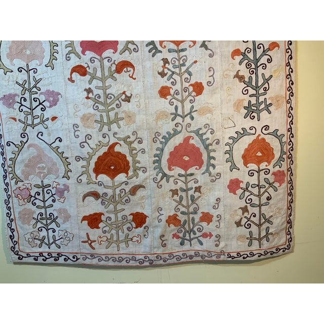 1900 - 1909 Antique Suzani Panel Wall Hanging For Sale - Image 5 of 13