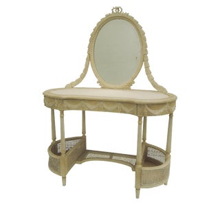 Antique French Painted /Gustavian Caned Vanity