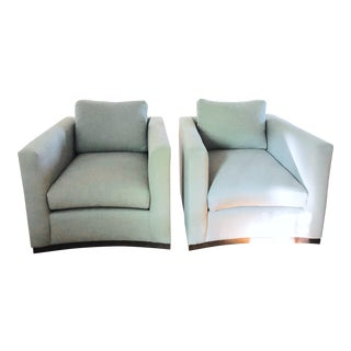 Lee Industries Swivel Chairs in Crypton Fabric - A Pair For Sale