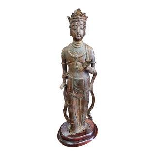 Late 19th Century Japanese Buddhist Kannon Bodhisattva Gilt Bronze Statue on a Wood Base For Sale
