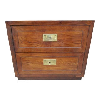 20th Century Campaign Henredon Two Drawer Nightstand For Sale