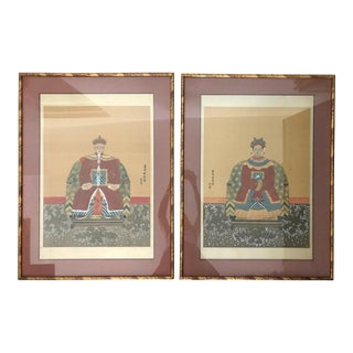 Framed Chinese Ancestor Portrait Paintings - a Pair For Sale