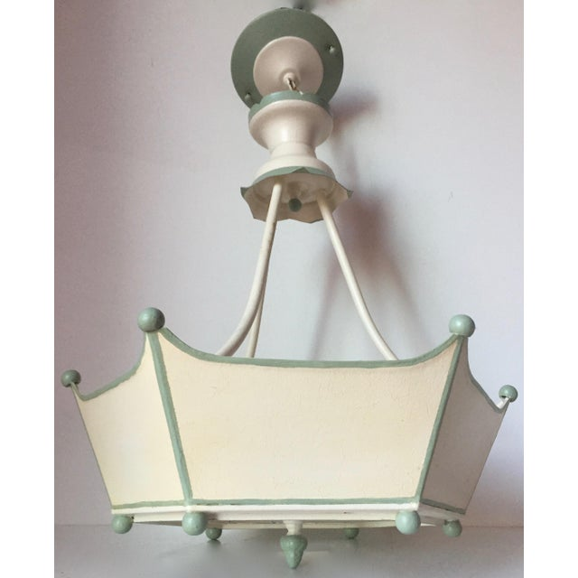 Italian Vintage Italian Tole Painted Chandelier For Sale - Image 3 of 10