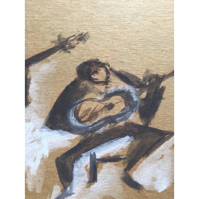 """Carmen Amaya Flamenco Guitarists"" Gouache Painting - Image 4 of 6"