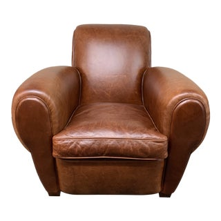 Restoration Hardware 1920s Parisian Leather Club Chair For Sale