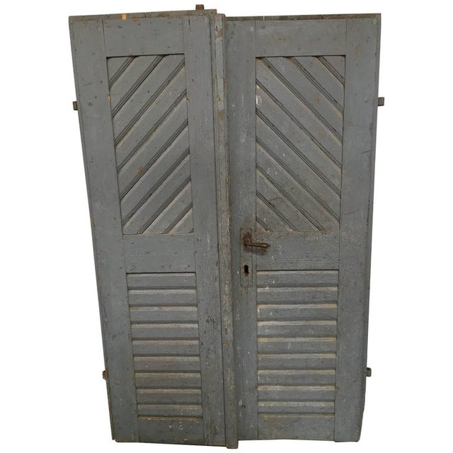 Stone Gray 1930's Antique French Painted Farm Doors-a Pair For Sale - Image 8 of 8