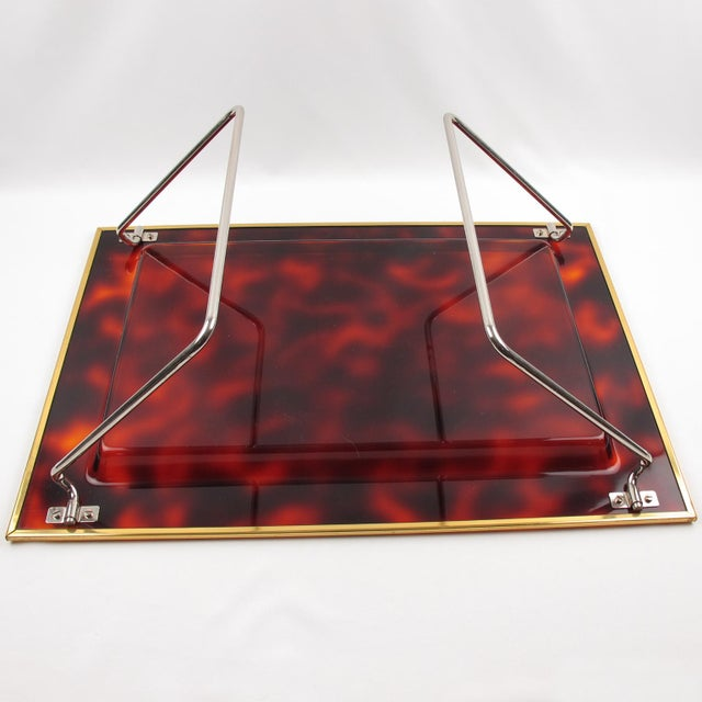 Mid-Century Italian Tortoise Lucite Barware Folding Serving Tray For Sale - Image 10 of 11