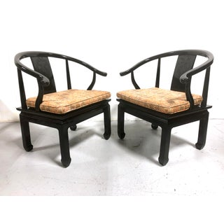 Vintage Chinese Horseshoe Chairs in Black Lacquer by Century Chair Co Preview