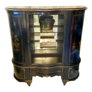 1920s Vintage French Chinoiserie Mirrored Mesh Front Cabinet For Sale