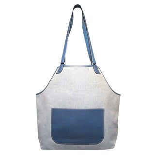 Hermes Canvas Toile and Blue Clemence Leather Apron Shoulder Tote Bag For Sale