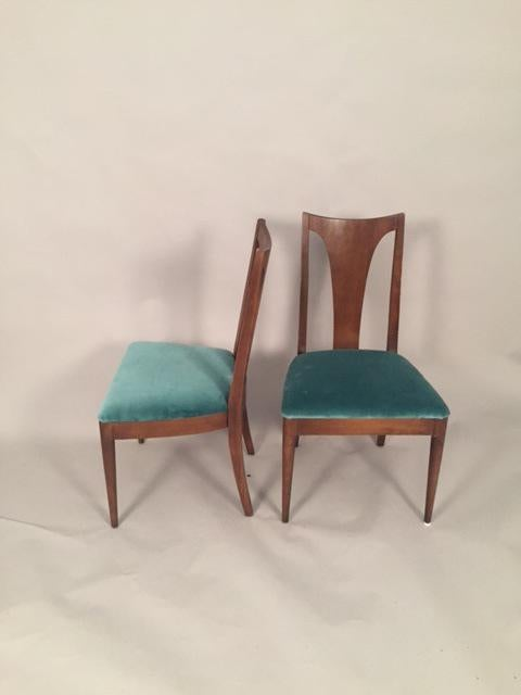 Vintage Lenoir Company Mid Century Teal Velvet Dining Chairs   Set Of 6    Image