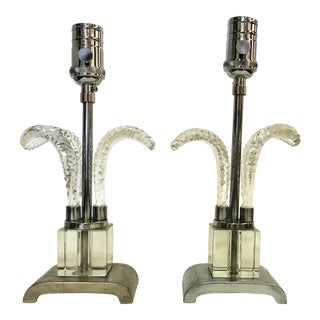 1930's Art Deco Cut Glass and Aluminum Vanity Lamps- a Pair For Sale