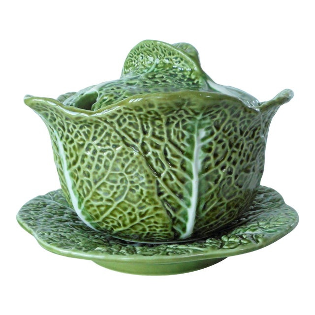 Vintage Majolica Green Cabbage Soup Tureen & Underplate For Sale