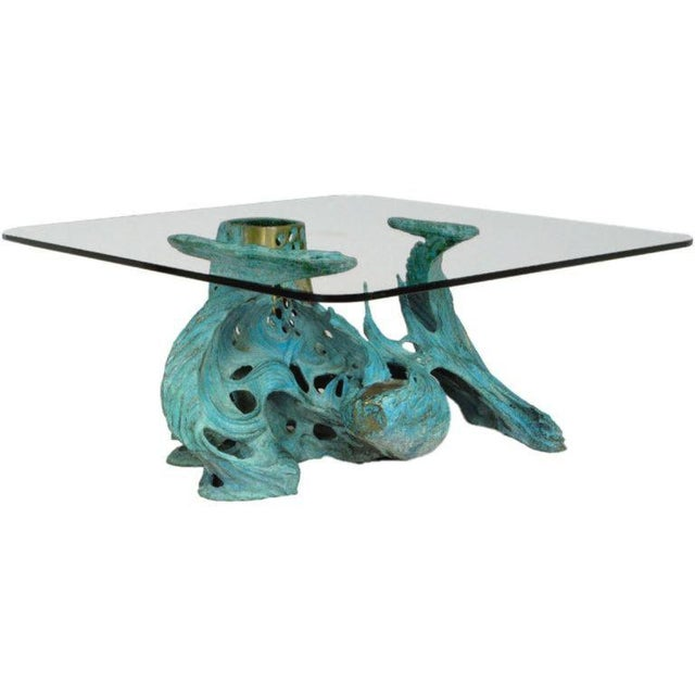 Mid-Century Modern Bob Bennett Cast & Turqouise Patinated Bronze Abstract Sculpture Table For Sale - Image 3 of 9