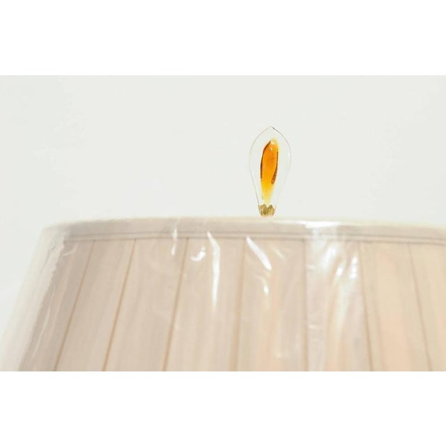1970s Sophisticated Pair of Custom-Made Murano Lamps with Silk Box Pleat Shades For Sale - Image 5 of 10