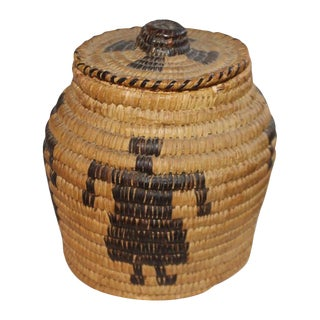 Papago Indian Pictorial Lidded Basket For Sale