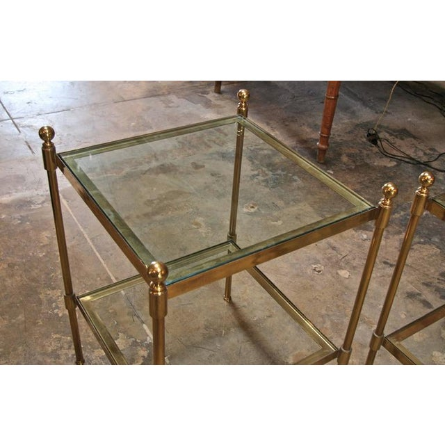Pair of Italian 1960s Two-Tier End Tables in Brass For Sale In Los Angeles - Image 6 of 8