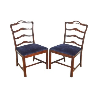 Chippendale Style Vintage Solid Mahogany Pair of Ladderback Side Chairs For Sale