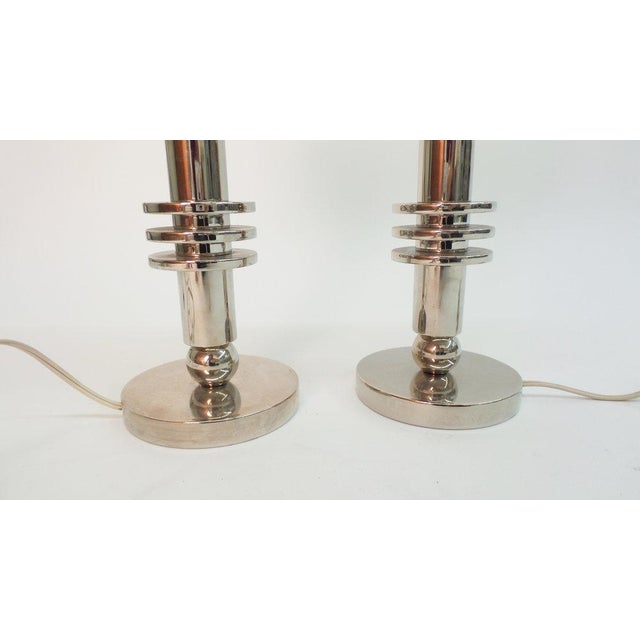 Modern Modernist Chrome Table Lamps For Sale - Image 3 of 5
