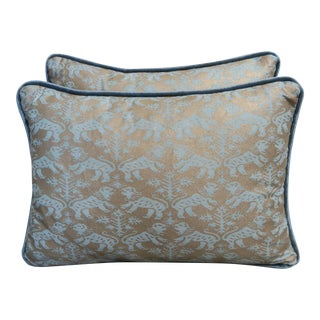 Blue Richelieu Lion Fortuny Pillows - a Pair For Sale